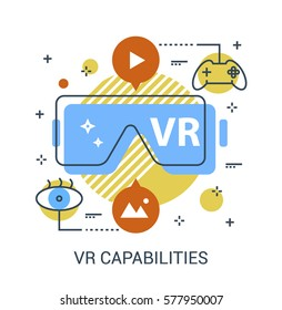 Virtual Reality Capabilities flat infographic icon concept. VR glasses with functionality symbols. Premium quality thin line vector illustration concept for Website Element, Mobile websites, Apps.