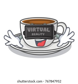 With virtual reality coffee character cartoon style