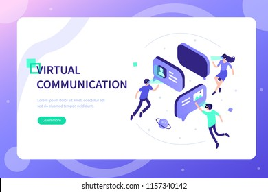 Virtual reality communication concept with characters. Can use for web banner, infographics, hero images. Flat isometric vector illustration isolated on white background.