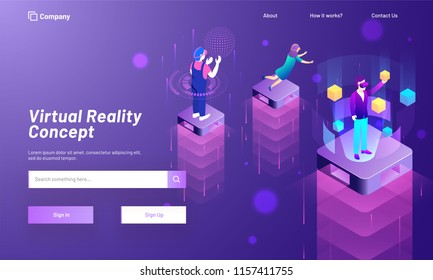 Virtual Reality concept based landing page design with Character of men and lady on top of isometric building interacting with imaginary or virtual world, universe and interface through VR glasses.