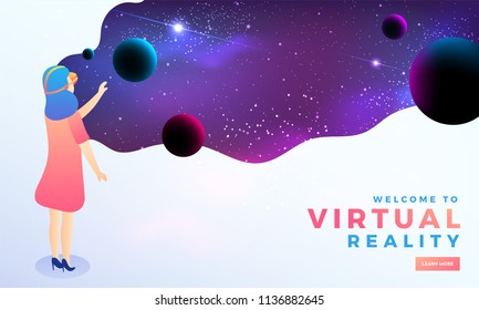 Virtual Reality concept with a girl interacting with imaginary universe through VR glasses. Hero banner design.