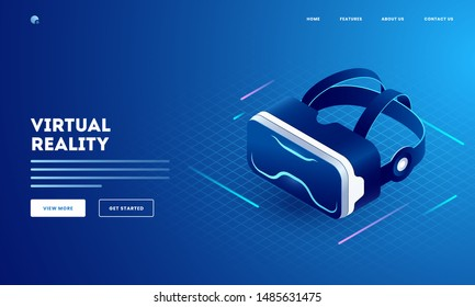 Virtual Reality concept with illustration of 3d VR glasses on blue grid background. Can be used as website poster or landing page design.