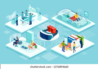 Virtual reality concept. Isometric vector flowchart poster with vr controller car racing game, online education and shopping, medical surgery training activities