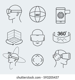 Virtual reality design icon set , VR, thin line icon, graphic, vector.