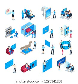 Virtual reality device. Isometric immersion training experience in vr equipment. Immersed human, virtual communication or augmented reality education. Isolated icons vector illustration collection
