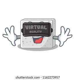 Virtual reality feta cheese block on plate cartoon