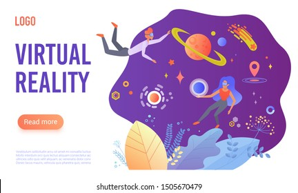 Virtual reality flat vector landing page template. Cartoon people in VR glasses enjoying open space travel. Students studying planets with virtual simulator program. Modern hi-tech gaming experience