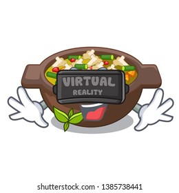 Virtual reality fried minestrone in the cup character