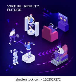Virtual reality future capabilities, sport trainings, gaming, simulator, vr controlled robots on dark background isometric vector illustration
