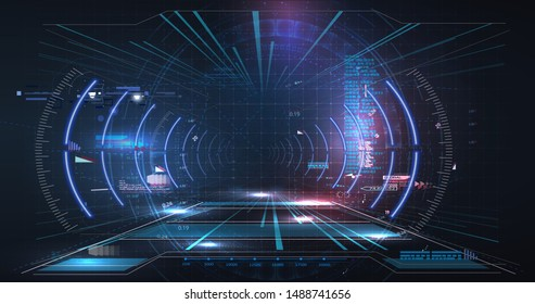 Virtual reality. Futuristic Head-up Display Design. Sci-Fi Helmet. Future Technology. HUD, GUI, UI user interface Cyber technology Futuristic for Virtual Reality. Vector