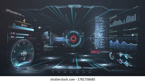 Virtual reality. Futuristic VR head-up display design. Sci-Fi helmet HUD, GUI,UI. Futuristic display with data, speedometer and statistics panel. Cockpit of futuristic autonomous car. High tech screen
