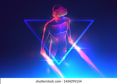 Virtual reality game. Man wearing vr headset and using light saber in abstract digital world with neon lines. Vector illustration