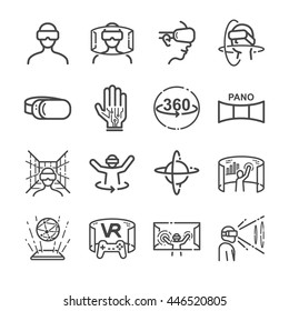 Virtual Reality gaming Icons. Included the icons as VR, game, simulator, futuristic, screen, view and more.