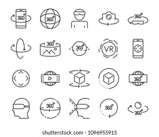 Virtual Reality gaming icons, VR 360 Degree technology set line icon