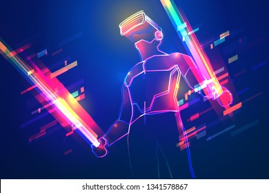 Virtual reality gaming. Man wearing vr headset and using light swords in abstract world. Glow effect with particles and neon lines