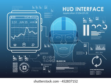 virtual reality glasses with smart watch with various graphs and elements in the HUD style