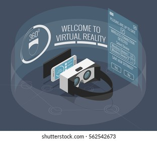 Virtual reality glasses with smartphone as media device in isometric flat design style on colored background. Virtual reality headset, 3d technology via mobile phone device, vector infographic eps10.