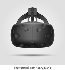 Virtual reality glasses, VR gaming headset with sensors realistic illustration for apps, ads and websites. Vector illustration