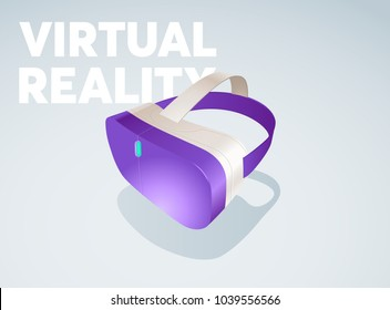 Virtual reality goggles vector illustration. Easily editable colors. Virtual digital cyberspace innovative technology. Purple glasses, 360 view for games.