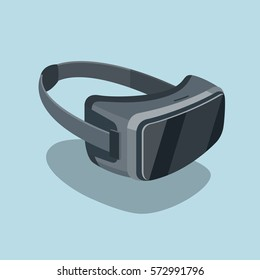 Virtual reality headset glasses realistic flat icon. Stereoscopic 3d VR optical technology. Very addictive gadget. Modern vector illustration art.