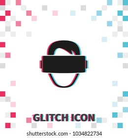 Virtual reality headset glitch effect vector icon. Simple  illustration.