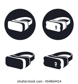 Virtual reality headset icons, vr with a smartphone black and white