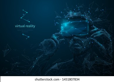 Virtual reality headset low poly wireframe banner template. Polygonal man wearing VR glasses mesh art illustration.  VR games playing. 3D innovative modern technologies with connected dots