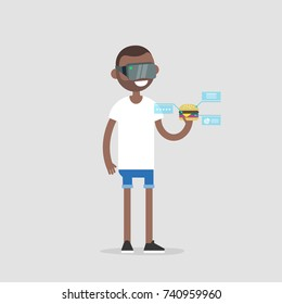 Virtual reality headset. New technologies. Young advanced millennial looking at a burger through the virtual reality glasses. Ingredients and nutrition infographics. Virtual blue displays. Flat vector
