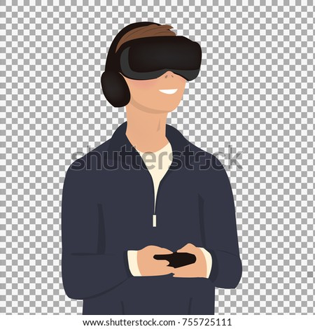 6c58dcfa8c24 virtual reality headset on transparent background. Excited young man using  a VR headset and experiencing