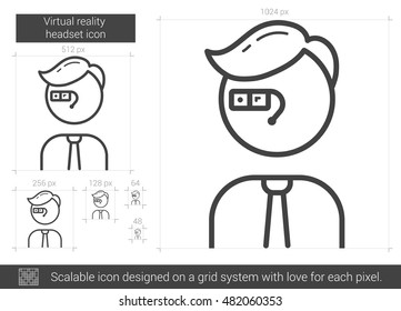 Virtual reality headset vector line icon isolated on white background. Virtual reality headset line icon for infographic, website or app. Scalable icon designed on a grid system.