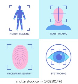 Virtual reality icon set in flat style. Modern technology symbols collection including movement tracking, fingerprint security, head and eye tracking. Vector illustration.