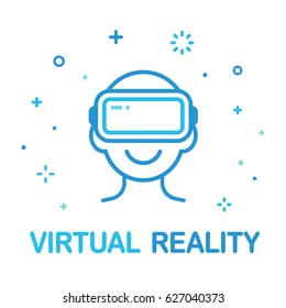 Virtual Reality illustration. Head silhouette with VR headset in modern flat vector style.