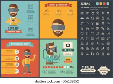 Virtual Reality infographic template and elements. The infographic template includes illustrations of hipster men and huge awesome set of thin line icons. Modern flat vector infographic  design.