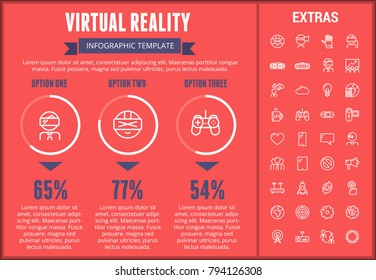 Virtual reality infographic template, elements and icons. Infograph includes customizable graphs, three options, line icon set with virtual reality glasses, vr technology, video games, tech app etc.