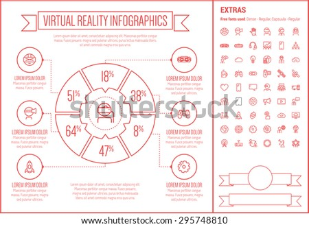 virtual reality infographic template elements template stock vector