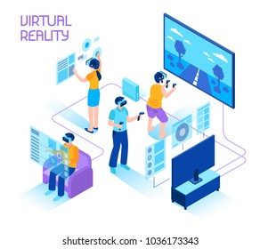Virtual reality isometric composition with people in headsets immersing in vr world holding motion controllers vector illustration