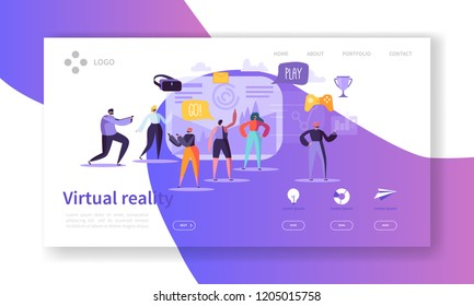 Virtual Reality Landing Page. Augmented Reality Banner with Flat People Characters Website Template. Easy to edit and customize. Vector illustration