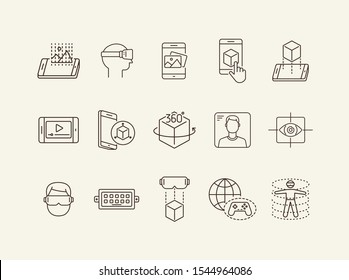 Virtual reality line icon set. Pictures in phone, man in VR glasses, 360 degrees. Virtual reality concept. Vector illustration can be used for topics like VR, modern technologies, inventions