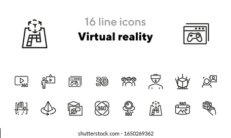 Virtual reality line icon set. Helmet, panorama, camera. Modern technology concept. Can be used for topics like augment reality, artificial intelligence, entertainment
