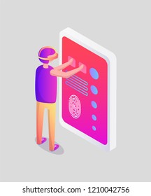 Virtual reality man and touchscreen with text and prints vector. Isolated isometric 3d icon with male wearing vr goggles and looking at big display