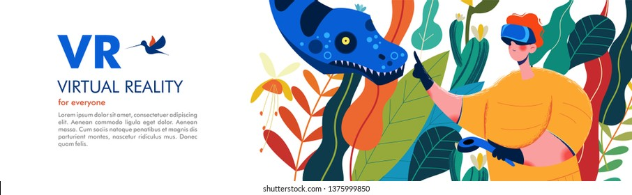 Virtual reality. A man wearing virtual reality glasses in the Mesozoic jungle. Adventures among dinosaurs and snakes. Vector illustration.