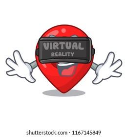 Virtual reality map pointer navigation pin mascot cartoon