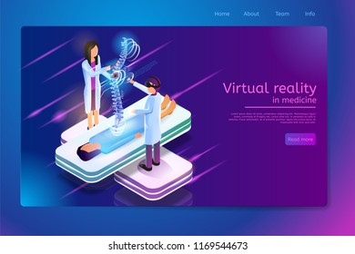 Virtual Reality in Medicine Isometric Web Banner With Doctor in VR Goggles Diagnoses Patients Spine Damage or Disease on Vertebral Column Virtual Image. Future Technologies Clinic Web Page Template
