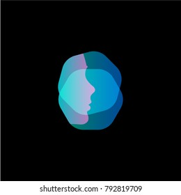 Virtual reality modern vector logo template. Face id profile, scanning face silhouette, future technology icon on black background.