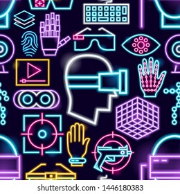 Virtual Reality Neon Seamless Pattern. Vector Illustration of VR Games Promotion.
