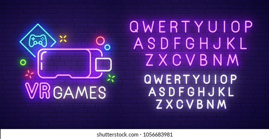 Virtual reality neon sign, bright signboard, light banner. VR Game logo, emblem and label. Neon text edit