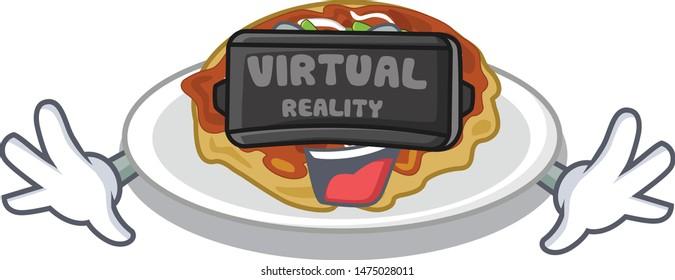 Virtual reality okonomiyaki isolated with in the character