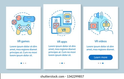 Virtual reality onboarding mobile app page screen with linear concepts. VR entertainment. VR games, apps, videos walkthrough steps graphic instructions. UX, UI, GUI vector template with illustrations