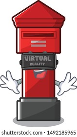 Virtual reality pillar box isolated in the mascot