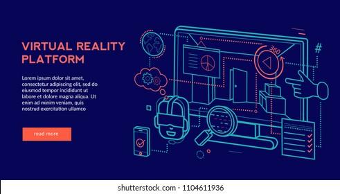 Virtual Reality Platform Concept for web page, banner, presentation. Vector illustration